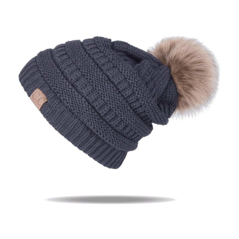 Size Secret-shop Female Fur Pom Poms hat Winter Hat for Women Girl s Hat Knitted Beanies Cap Hat,Pink with Fur