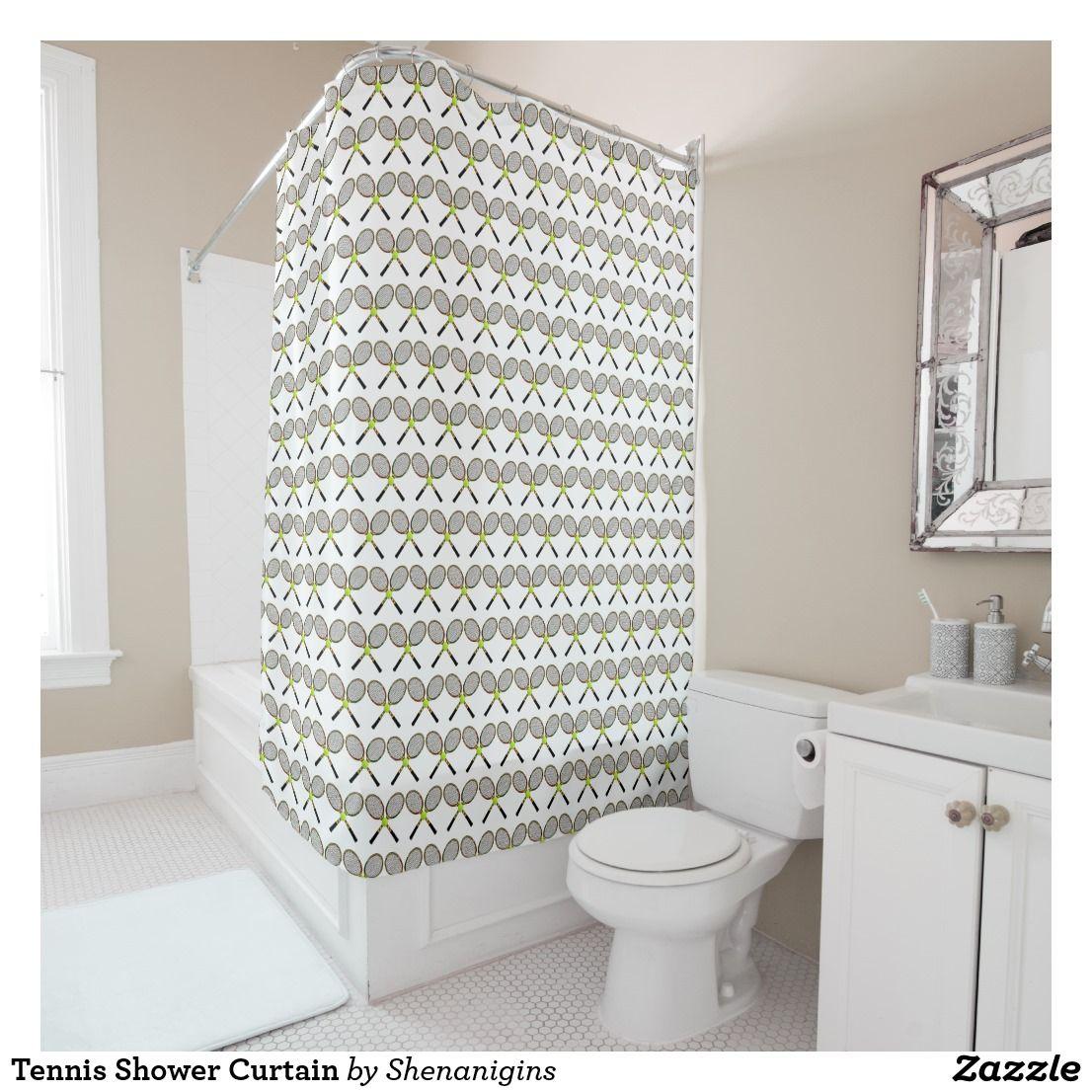 Tennis Shower Curtain Zazzle Com Shower Curtain Cool Shower Curtains Curtains