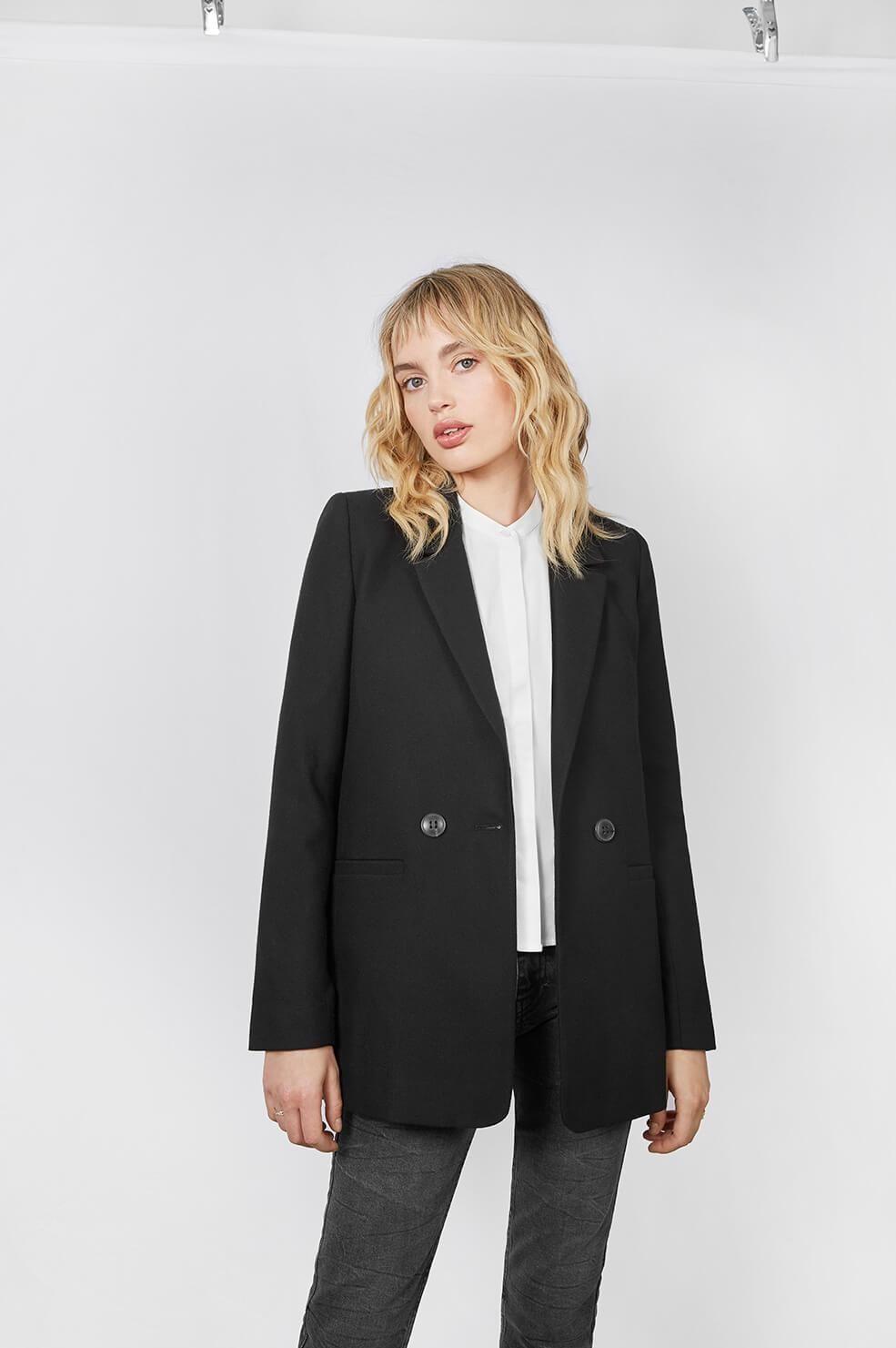 Medium ANINE BING Women/'s Grey Pinstripe Blazer Size UK 12