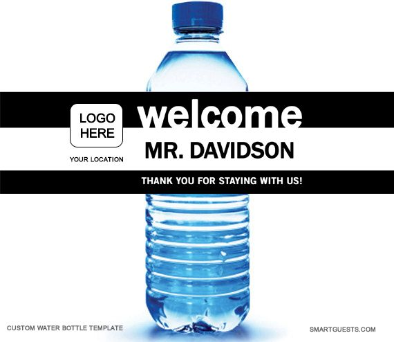 Water Bottle Label Template Printable Pdf Hotel Guests How