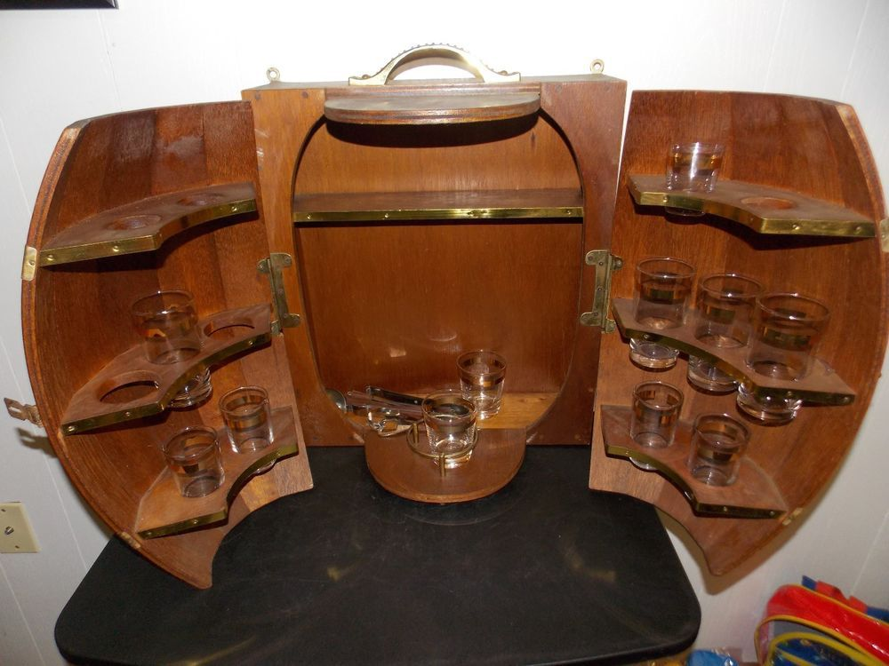 Vintage Wood Whiskey Barrel Keg Style Bar Wall Cabinet W