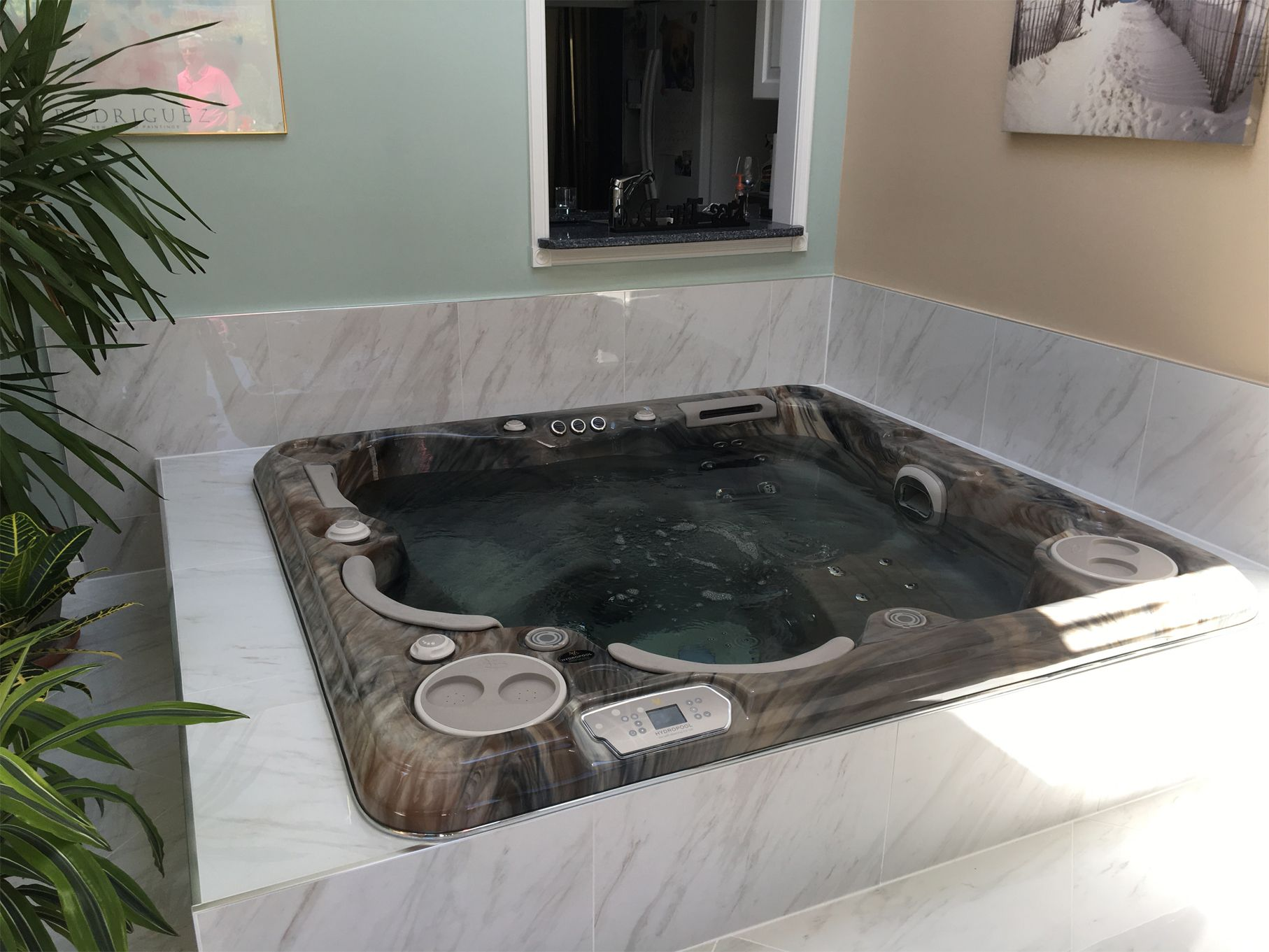 A Beautiful Indoor Hot Tub Install I Love How The Stainless Trim