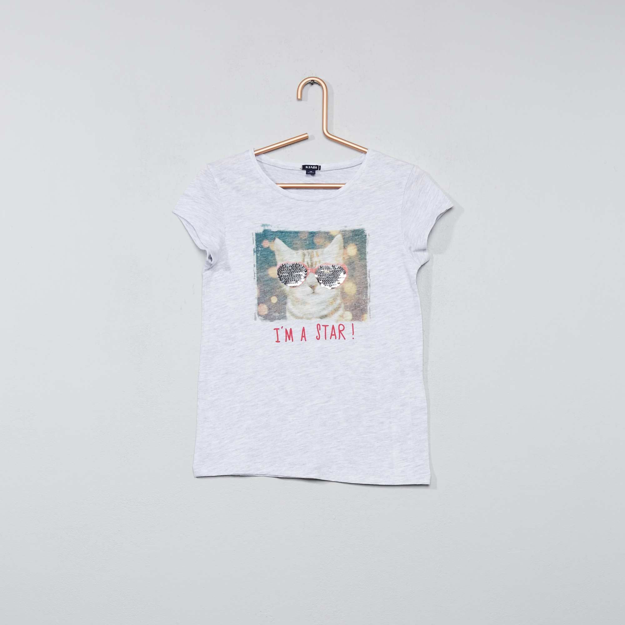 7ffe05eb9 Camiseta con lentejuelas reversibles Chica - GRIS - Kiabi - 4