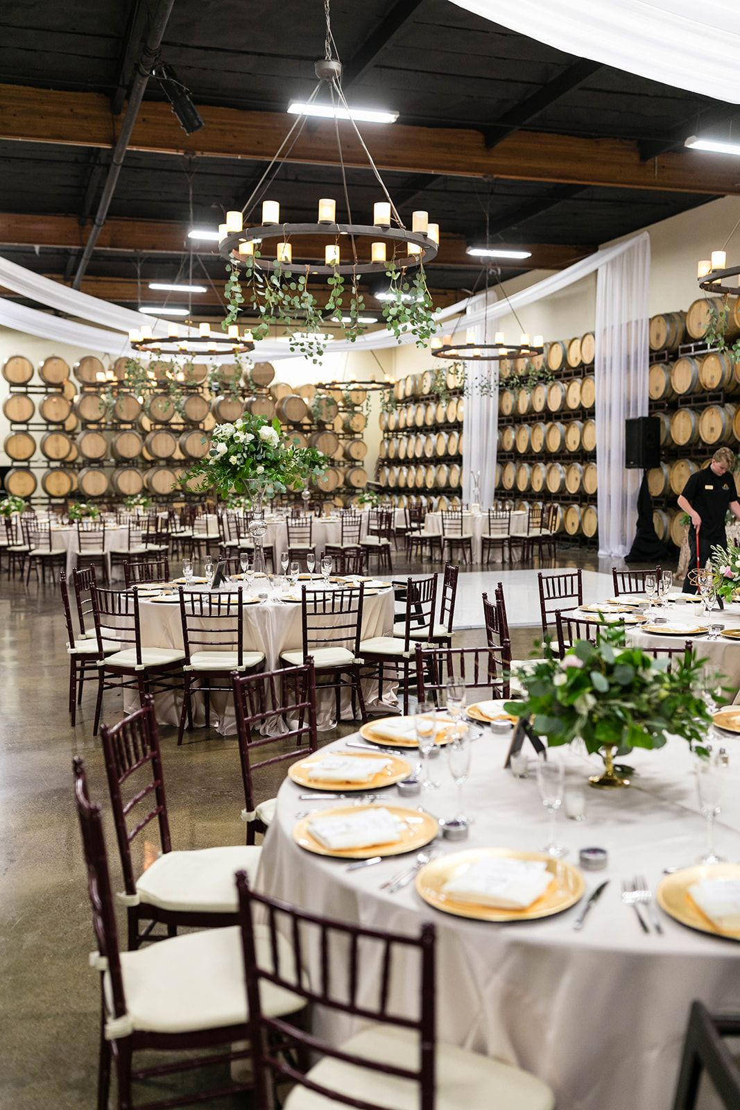 Reception area Winery wedding at Callaway Winery in