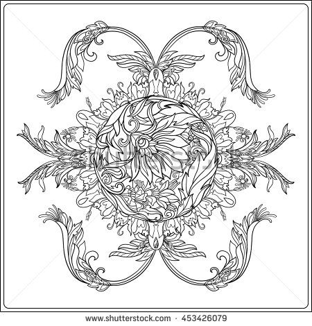Medieval Floral Royal Pattern From Collection Decorative Symmetry Arabesque Coloring Book For