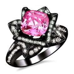 pink diamond black gold unique wedding ring - Pink And Black Wedding Rings