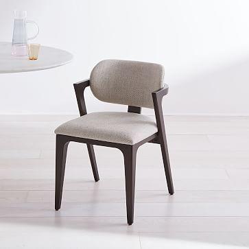 Adam Court Upholstered Dining Chair, Twill, Stone, Dark ...
