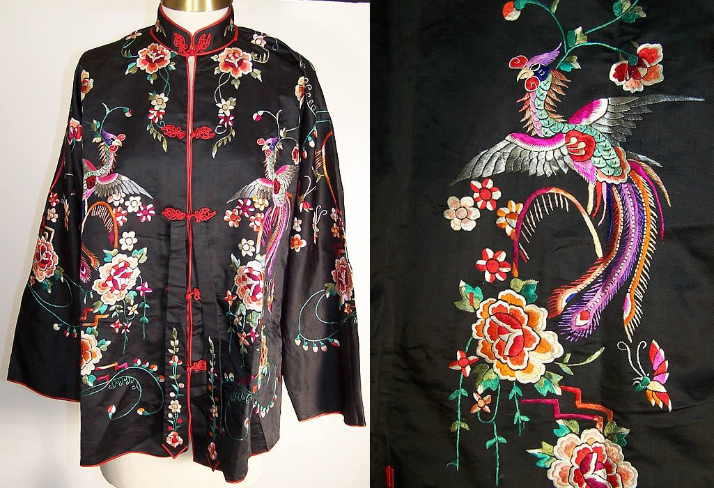 Chinese Silk Embroidered Phoenix Robe Jacket Front view.