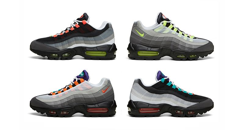 Nike Air Max 95 in original colourway. These sneakers were the ones to be  seen in during the late 90s, and have proved to be an enduring classic.