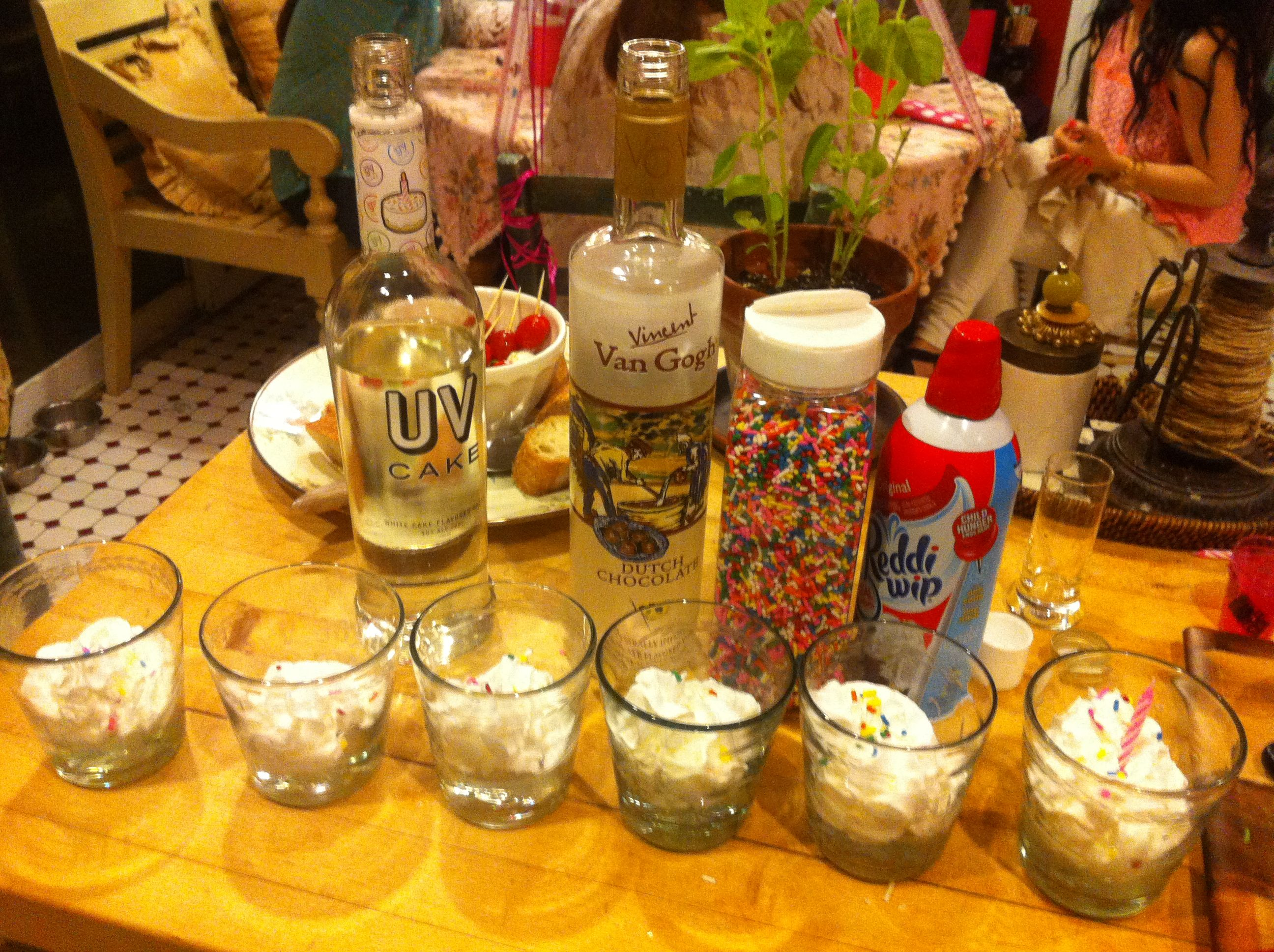 Birthday cake shots 1 part cake vodka 1 part chocolate vodka