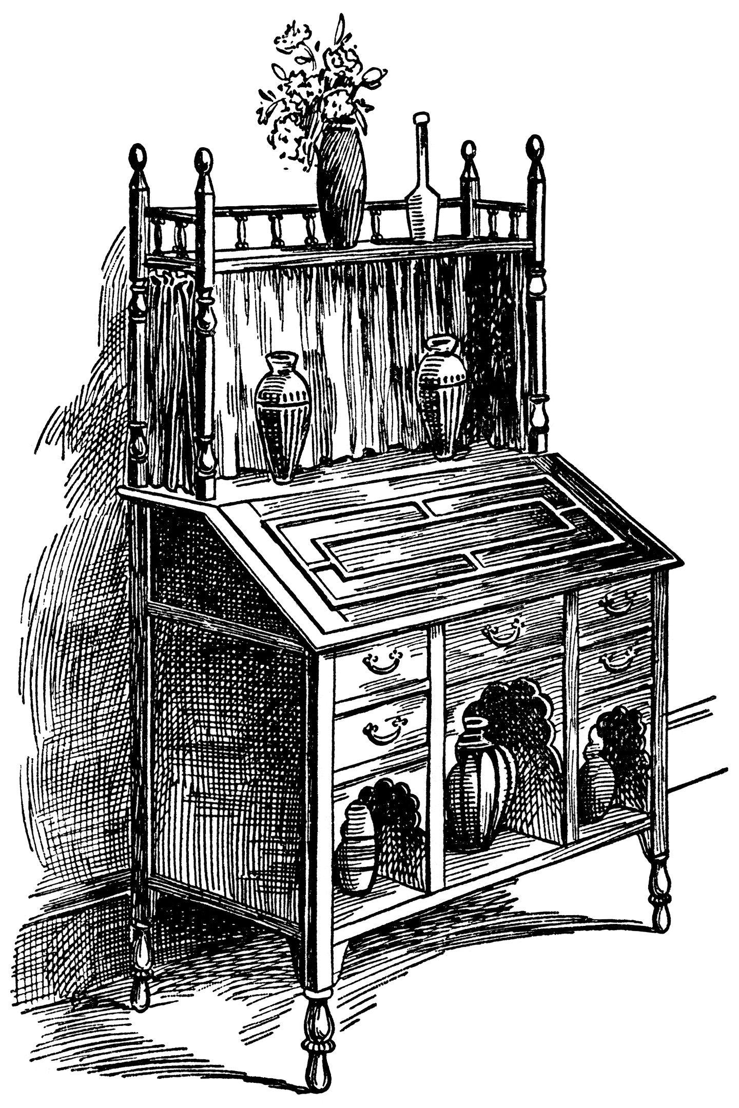 Victorian furniture illustration, black and white graphics, vintage ...