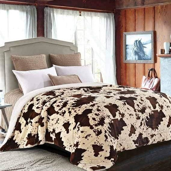 Rodeo Cow Print Faux Fur King Blanket