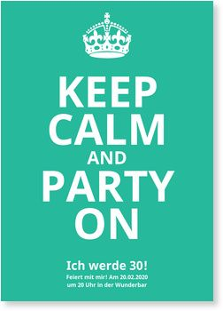 Keep Calm In Grün Einladungskarten Geburtstag