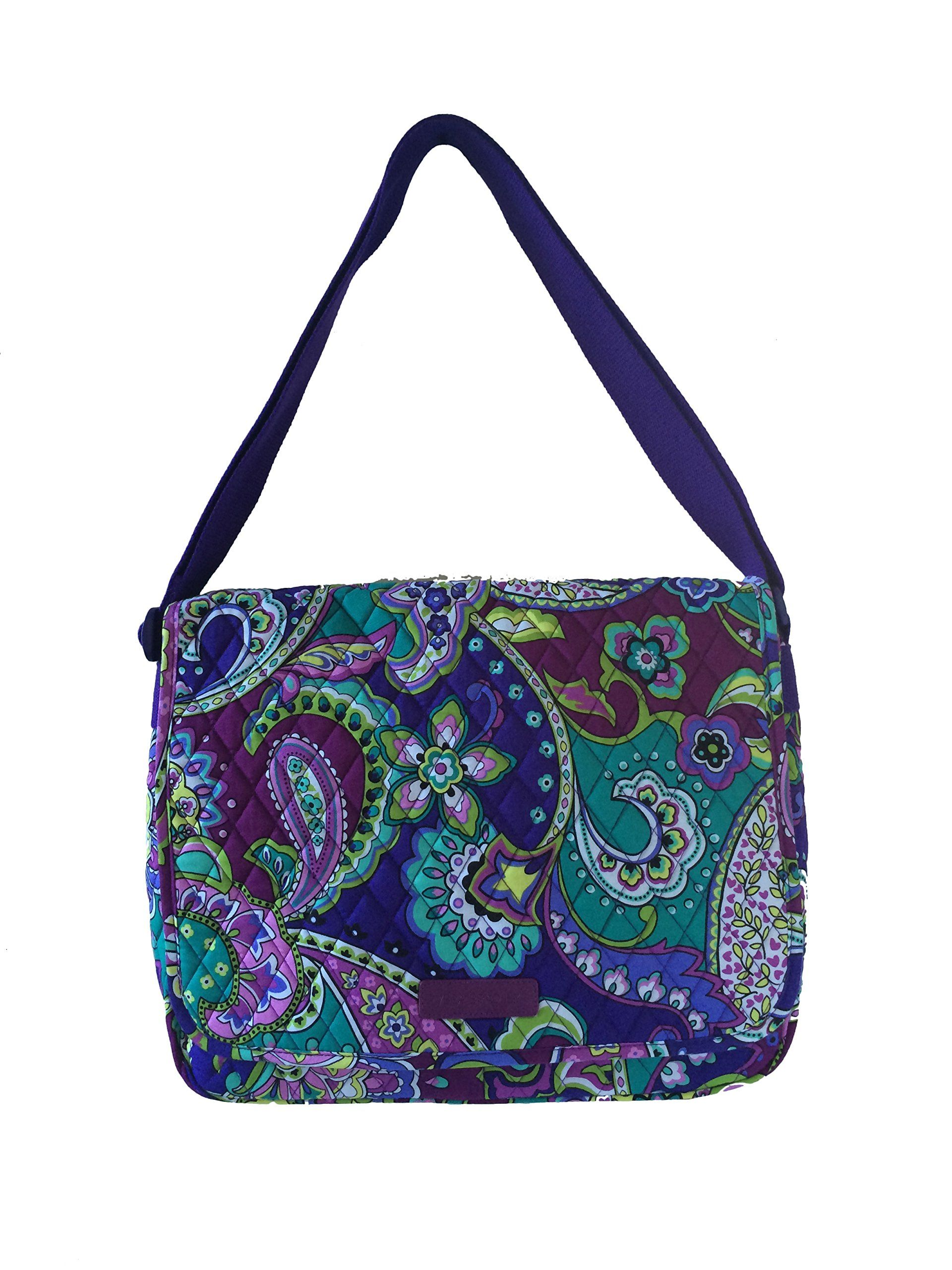 Vera Bradley Messenger Bag Updated Version with Solid Interiors (Heather  with Purple Interiors) 6c5261ec997b0