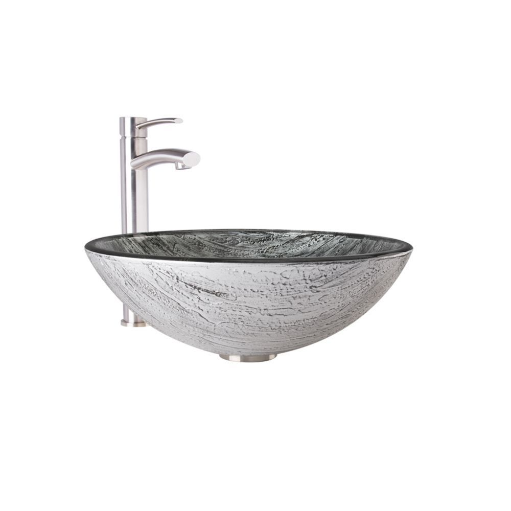 Glass Vessel Bathroom Sink In Titanium And Milo Faucet Set In