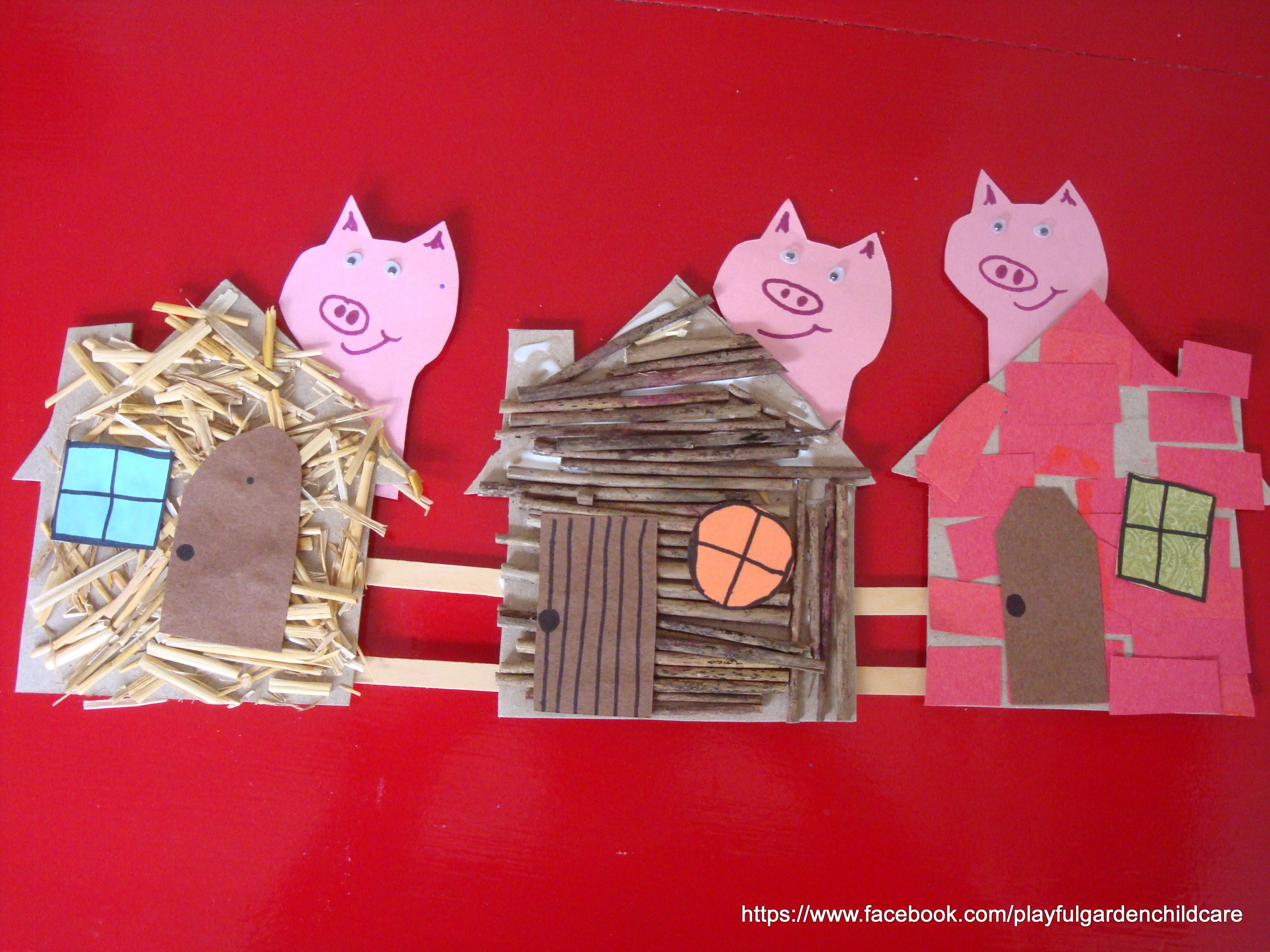 The Three Little Pigs Collage For Fine Motor Language And Sensory Experience See More Fb