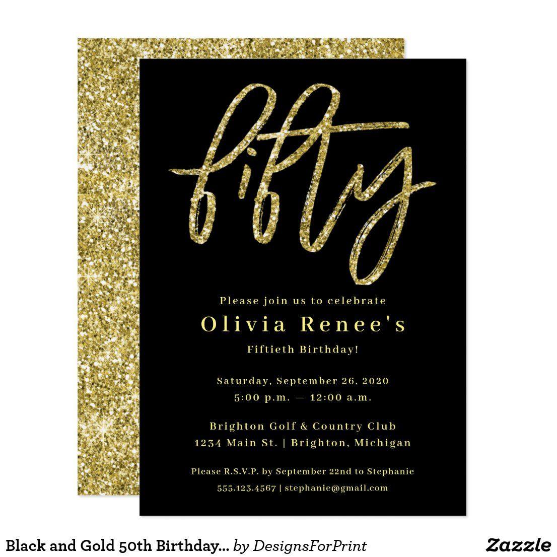 Black and Gold 50th Birthday Invitation Template Zazzle