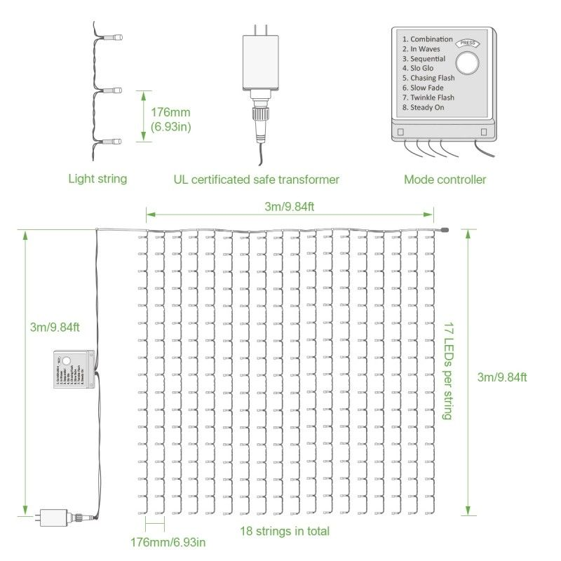 9 8 9 8ft Daylight White 8 Modes Led Curtain Fairy Lights For