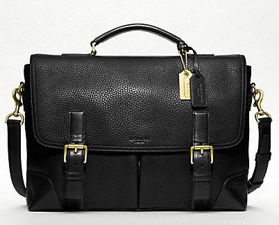 #Coach men's leather flap bag. I may have to get this as my laptop