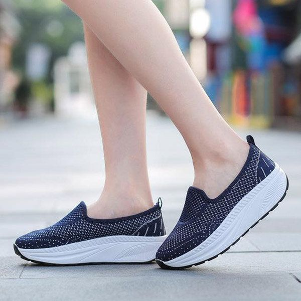 3b63ee5015 Hollow Out Mesh Comfortable Rocker Sole Platform Shake Casual Shoes ...