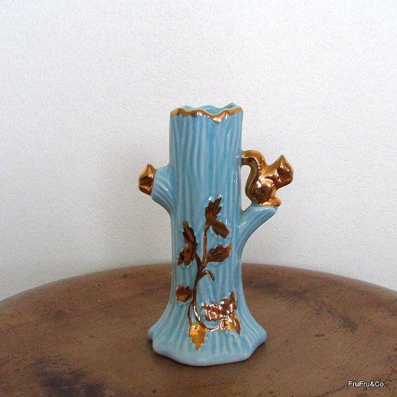Pale Blue Ceramic Tree Trunk Vase With Squirrels Etsy Blue Ceramics Vase Ceramics