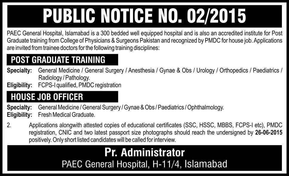 Paec General Hospital Islamabad Jobs Post Graduate Training