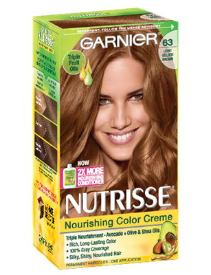 Achieve A Silky And Healthy Light Golden Brown Hair Color With Gray Coverage Nutrisse Nourishing Creme Permanent By Garnier