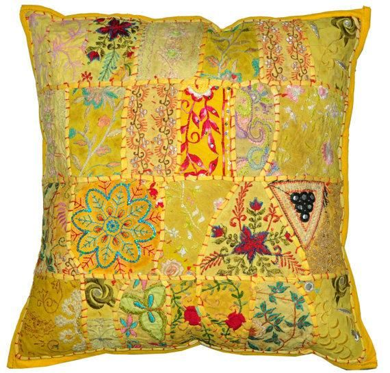 "24"" Large Vintage Embroidered Patchwork Pillow Decorative Throw pillow cover Indian Ethnic Outdoor P"