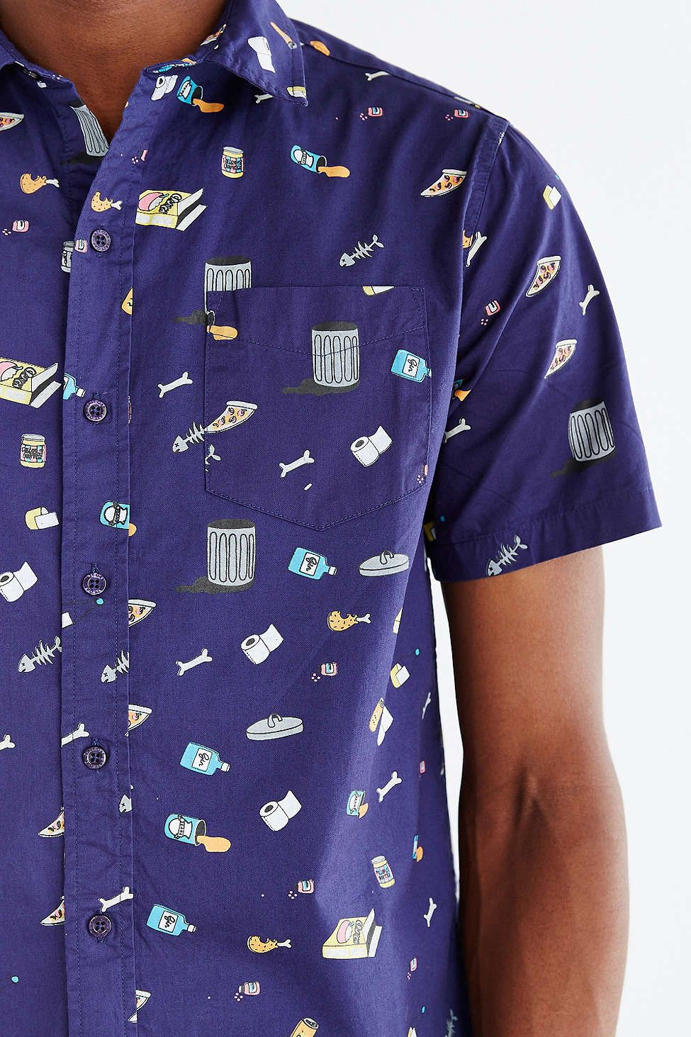Lazy oaf garbage print button down shirt threadin for Primark button down shirt