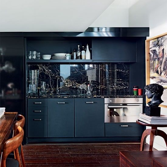 Compact One Wall Kitchen Open Shelving Navy Blue Grey Continuous Hardwood Flooring