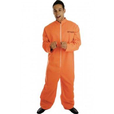 Mens Orange Jumpsuit Prisoner Convict Fancy Dress Costume   ...