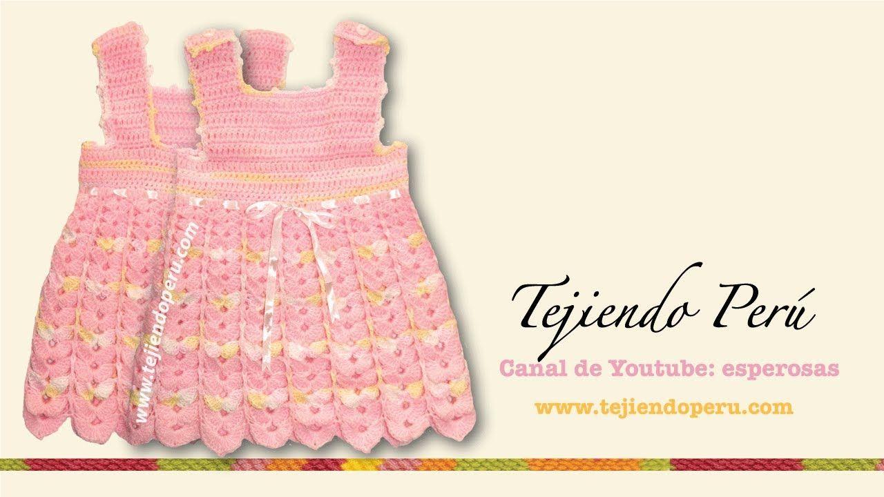 Vestido para bebita de 0 a 3 meses tejido en crochet (Parte 1 ...