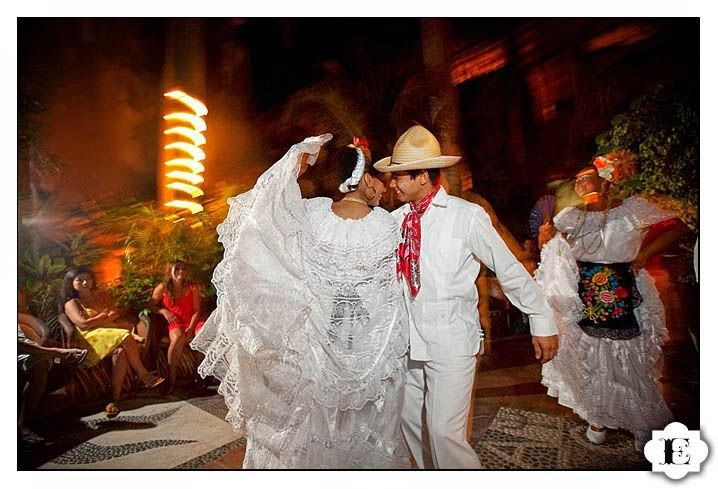 Mexican Bride And Groom Sharing A Traditional Dance Suggesting Flirtation Dressed In All White Flamenco Styled Wedding Gown I Absolutely Loved Their