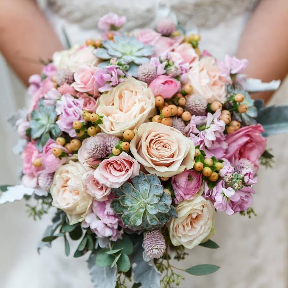 Roses, Succulents, Stock, Hypericum, And Gomphrena Bouquet