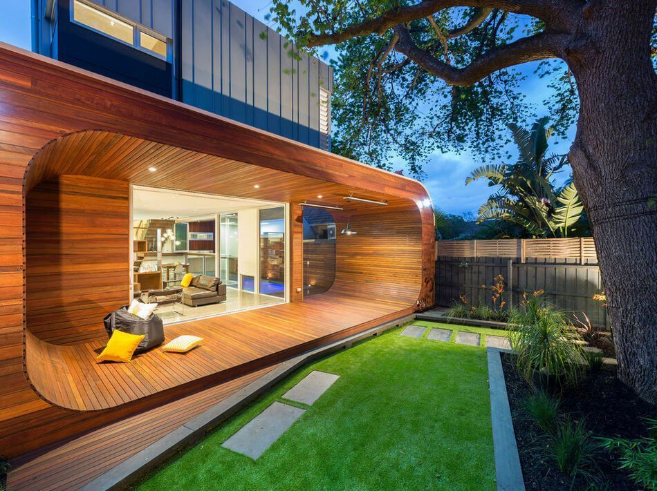 Letu0027s Decorate Your Front Yard With These Fabulous Looking Red Wooden  Contemporary Deck Project. This Deck Design Is Much Modern, Contemporary  And The ...