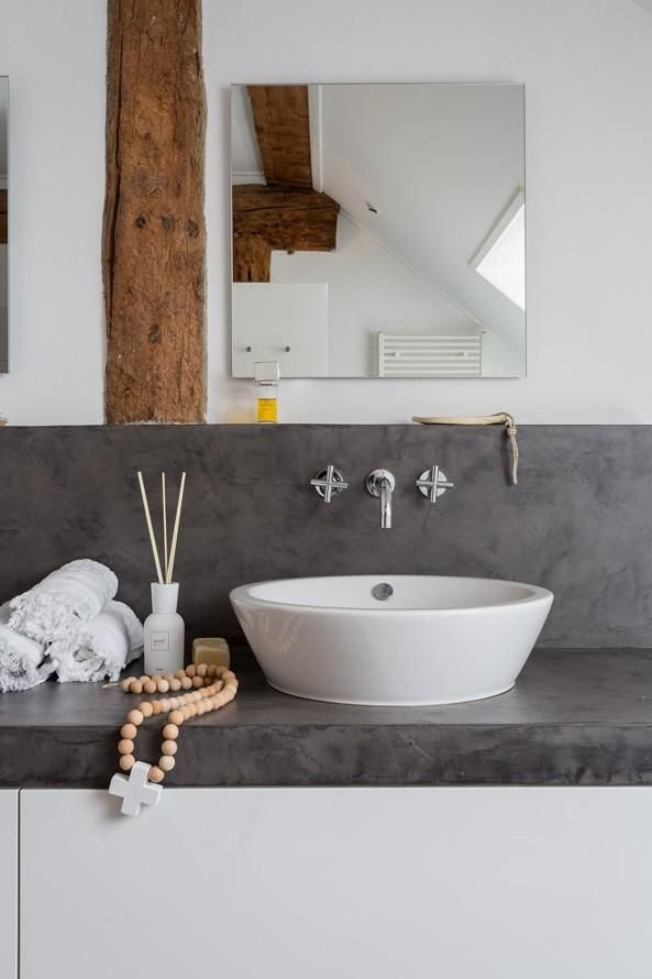 Wood And Micro Cement Bathrooms