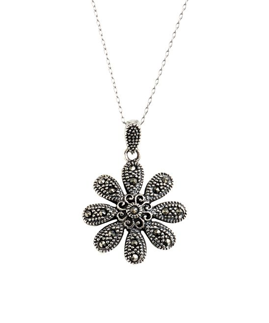 Sterling Silver Marcasite & Peridot Flower Locket Pendant t56p9uKeX