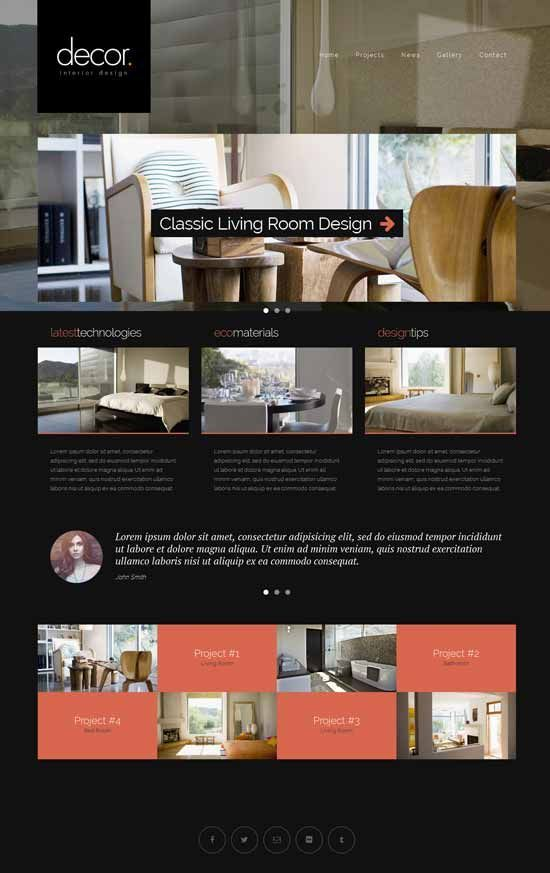 Interior Design Furniture Website Templates 2016 Websites Pinterest