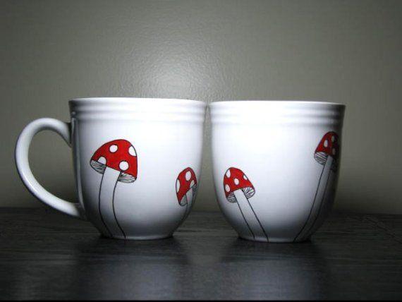 Hand Painted Cups- Whimsical Mushrooms manualidades Pinterest - porzellan geschirr geschenk