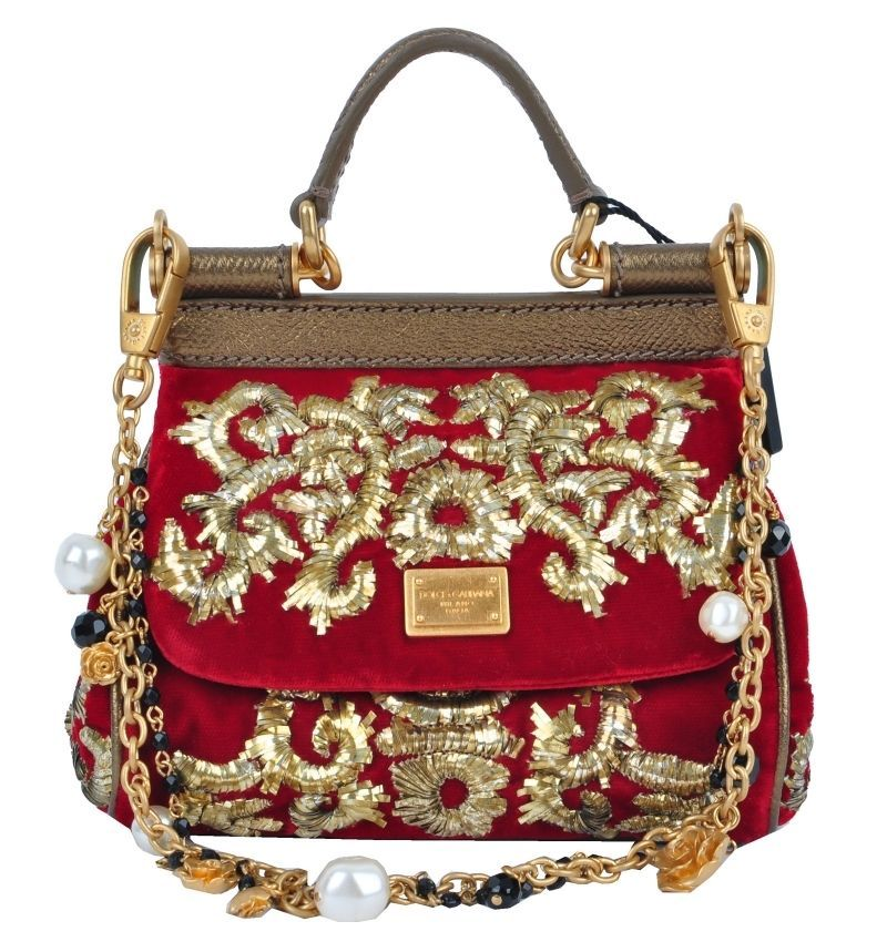 DOLCE & GABBANA RUNWAY MISS SICILY Baroque Gold Embroidery Handbag Bag 02573 in Clothing, Shoes & Accessories | eBay