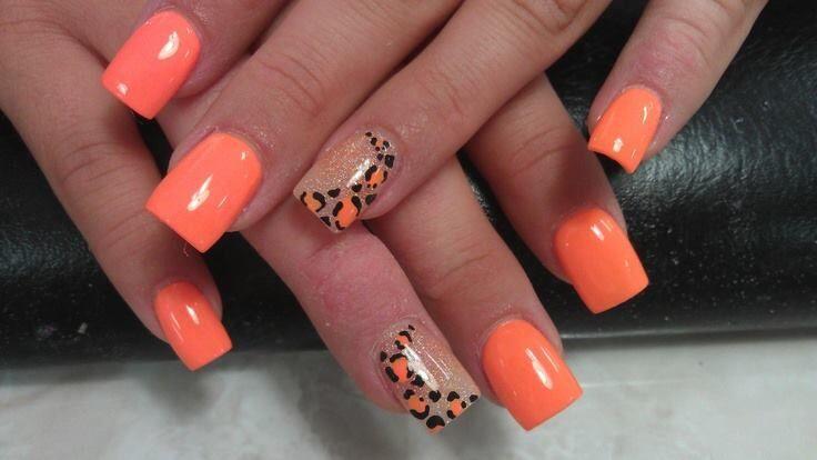 Orange with Cheetah Accent Nail Design