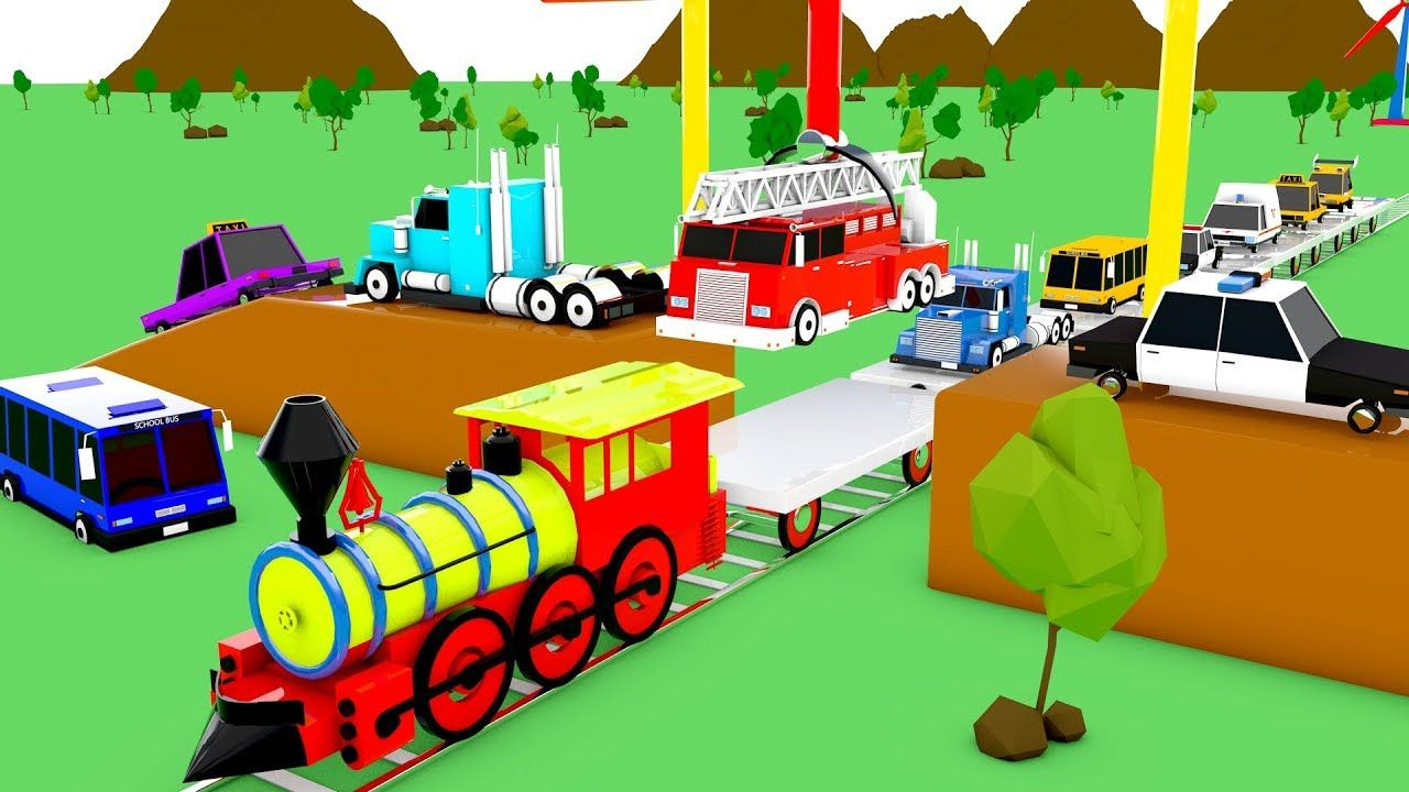 Colors for Children to Learn with Emergency Vehicles Toy Train ...