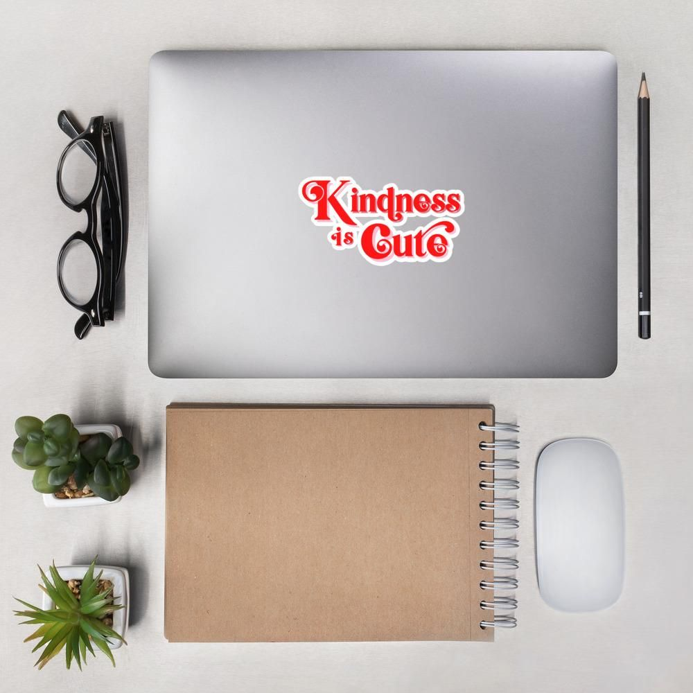 """Spread the message with this """"Kindness is Cute"""" sticker! Perfect for your laptop, notebook, phone case, etc! Product Information • High opacity film that's impossible to see through • Fast and easy bubble-free application • Durable vinyl, perfect for indoor use • 5.5""""x5.5"""" Don't forget to clean the surface before applying the sticker. Size guide 5.5X5.5 Height (inches) 5 ½ Width (inches) 5 ½ For shipping and return inquiries, please refer to our Shipping and Returns pages."""