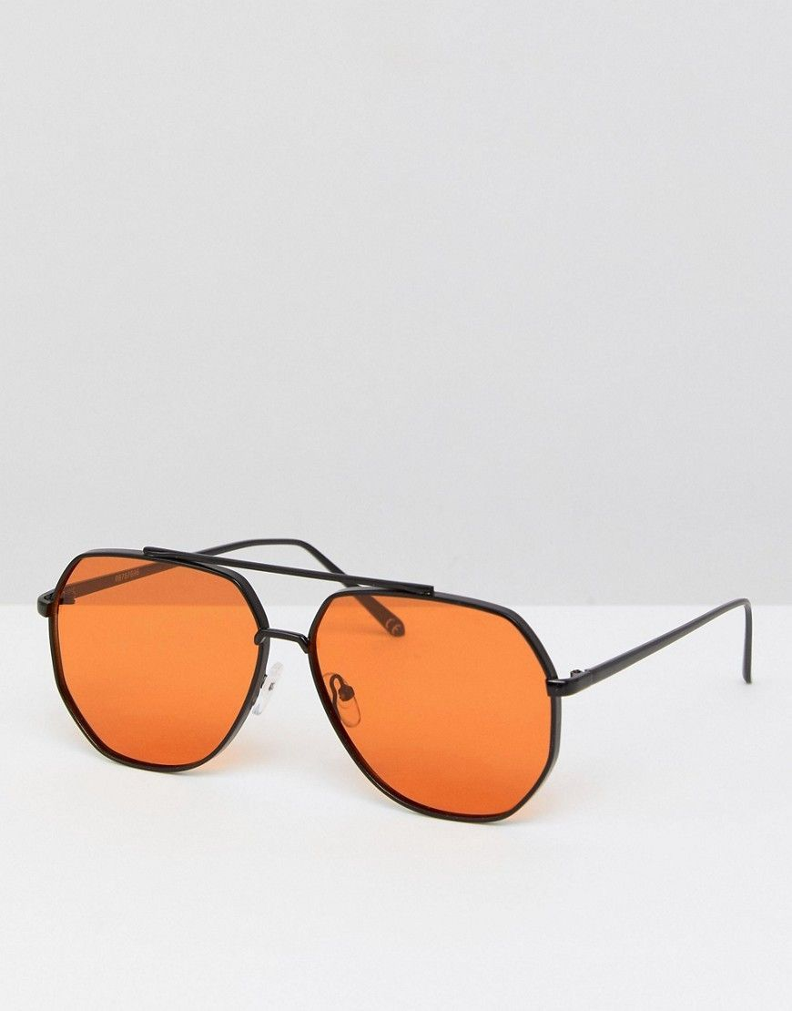 36eaef2e07e4d ASOS Black Metal Aviator Fashion Sunglasses With Orange Lens - Black   aviationglamourfashion