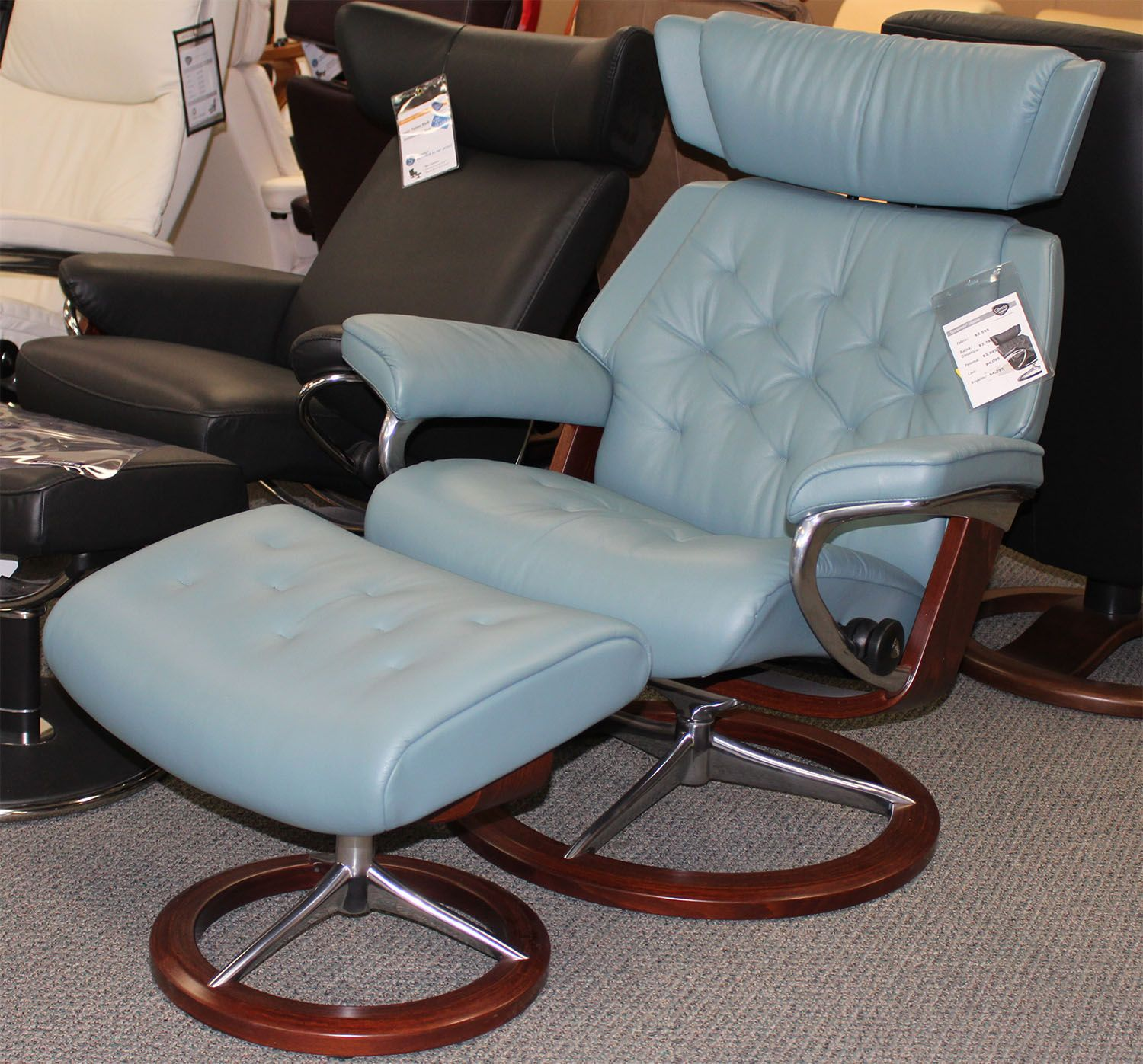 Stressless Magic Signature Sessel Stressless Skyline Recliner Cori Petrol Leather Living Room