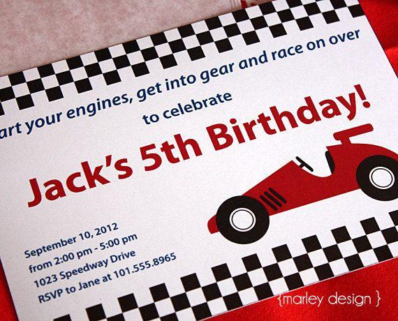 printable race car party invitation by marleydesign on etsy, Birthday invitations