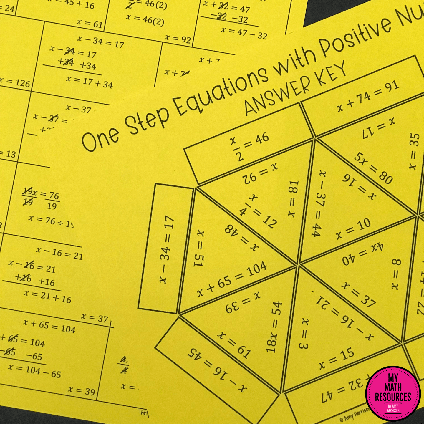 One Step Equations With Positive Numbers Triangle Puzzle