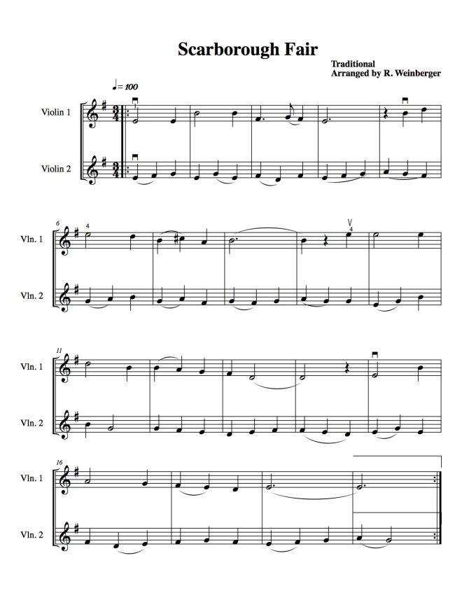 Scarborough Fair For Two Violins | Violin sheet music. Violin. Scarborough fair