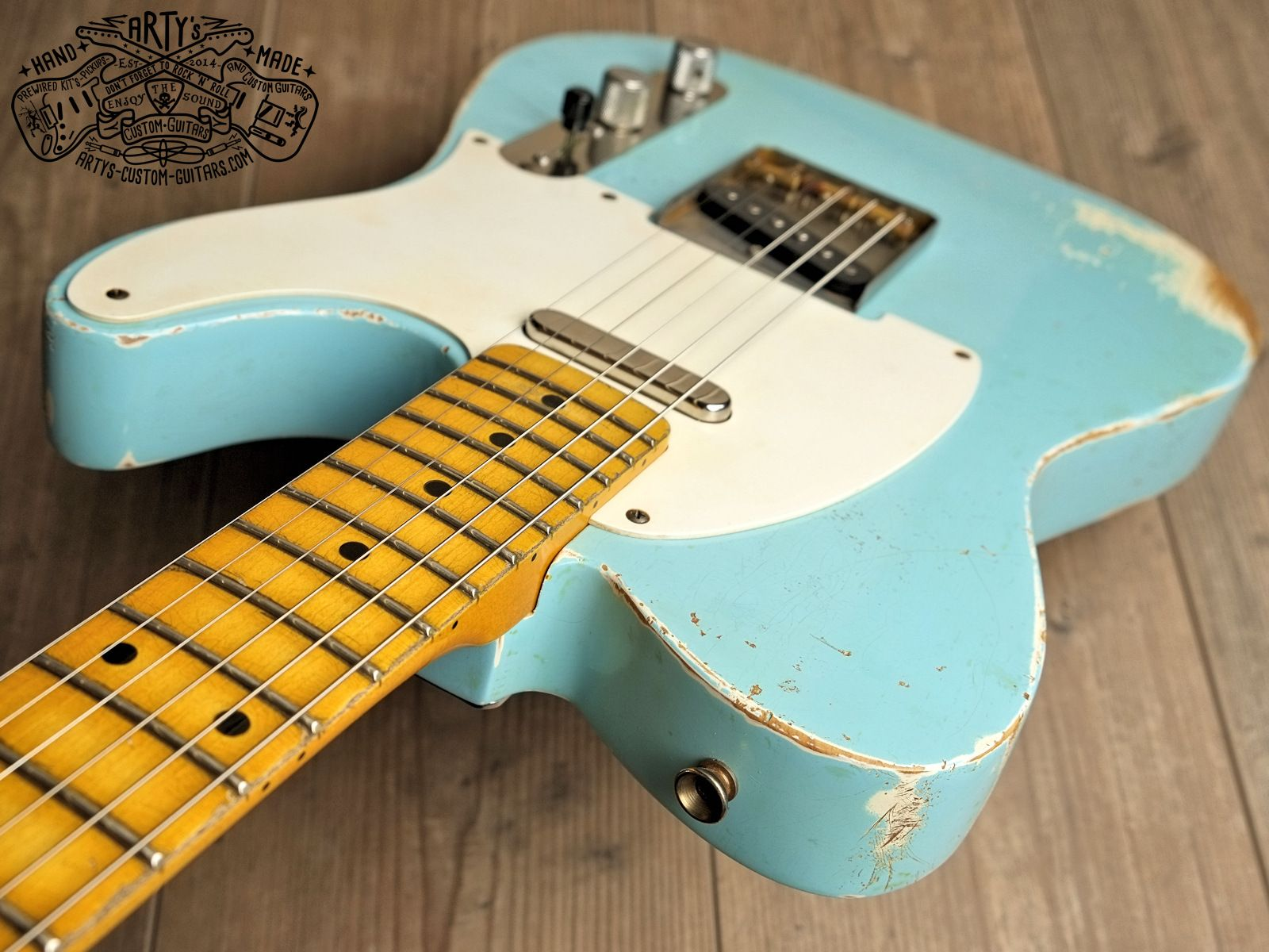 hight resolution of sonic blue relic roadworn telecaster warmoth maple neck fender swamp ash body aged nitro finish arty s custom guitars
