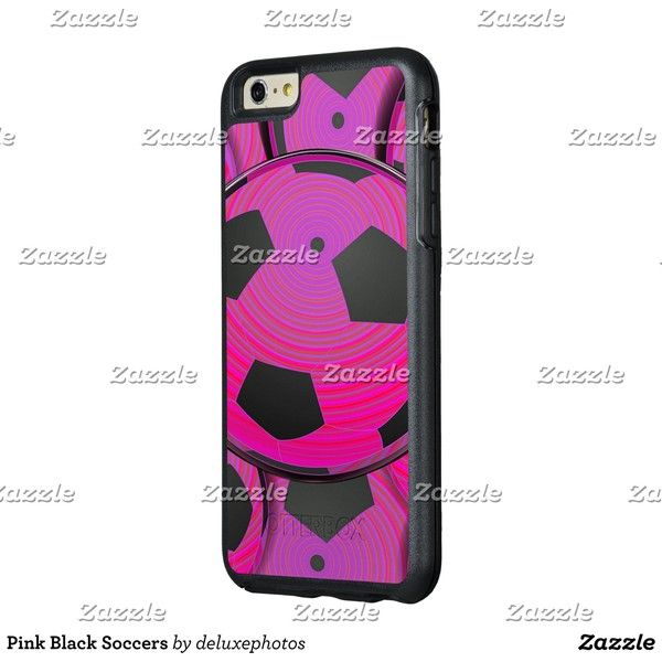Pink Black Soccers OtterBox iPhone 6/6s Plus Case zazzle ($62) ❤ liked on Polyvore featuring accessories, tech accessories and otterbox